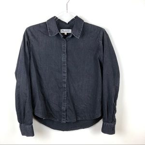 Madewell Denim Crop Boyshirt I'm Gravel Wash Small